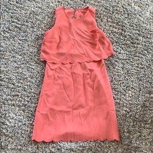 LOFT pink scalloped dress